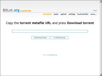 「BitLet」はBitTorentクライアント不要のTorrentダウンロードサイト