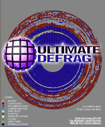 「UltimateDefrag」は、無料のグラフィカルな強力デフラグ・ツール