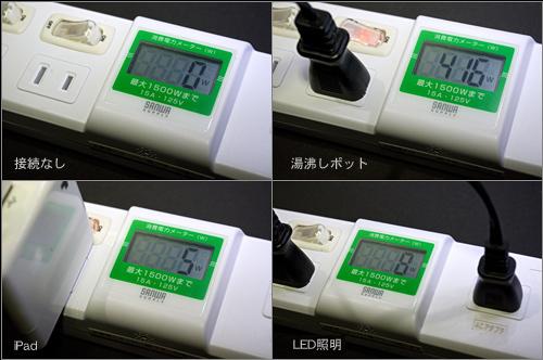 節電対策に「ワットメーター 付き 電源タップ 700-TP1052DW」買った